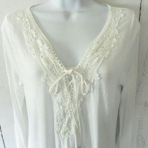White House Black Market Tops - White House Black Market Top Crochet Lace Up Boho